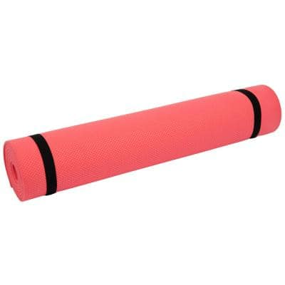 High-Density Fitness Mat, Red Yoga Exercise Floor Covering, 1/4 Thick, 23.5 in. x 68 in. 11 sq. ft.