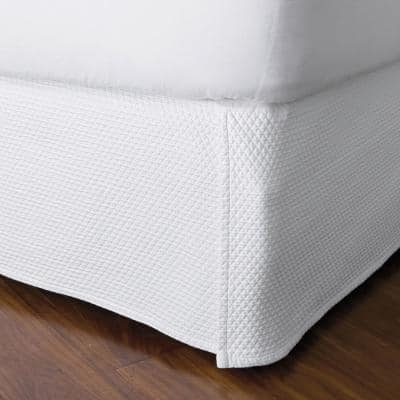 Madelyn Matelasse 18 in. White Cotton Twin Bed Skirt