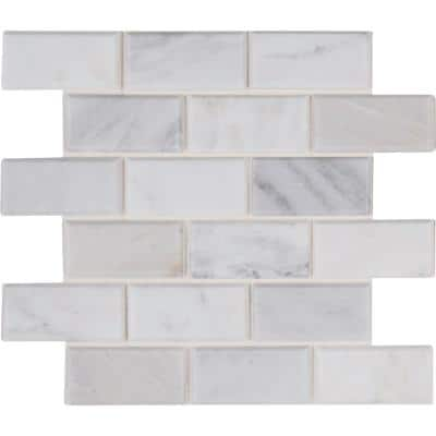 Marble Brick Joint Mosaic Tile Tile The Home Depot