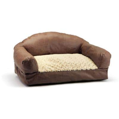 29 in. Brown Faux Fur and Faux Leather Sofa Pet Bed