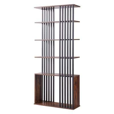 71 in. H Brown Wood 5-Shelf Standard Bookcase with Open Back And Slat Metal Frame