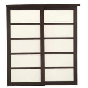 72 in. x 80 in. 2240 Series Espresso 5-Lite Tempered Frosted Glass Composite Sliding Door