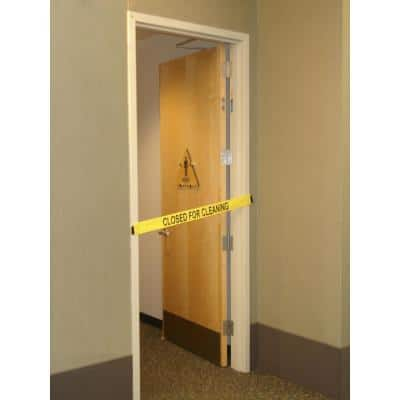 Nylon Safety Barrier with Magnetic Ends Closed For Cleaning Imprint Fit's up to a Standard 36 in. wide Doorway
