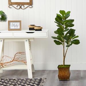 4 ft. Artificial Fiddle Leaf Fig Tree in Metal Planter