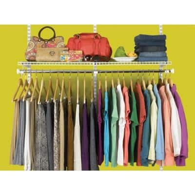 Configurations 1.875 in. D x 12.375 in. W x 26.937 in. H Add-On Hanging Metal Closet System Kit in Titanium