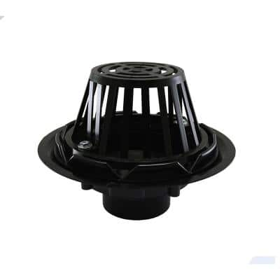 11 in. O.D. ABS Roof Drain with Plastic Dome - Fits Over 3 in. Sch. 40 DWV Pipe