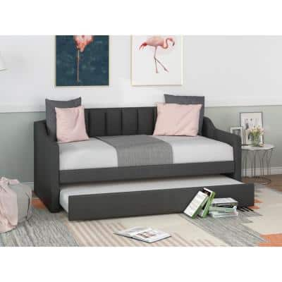 Gray Twin Size Upholstered Daybed with Trundle