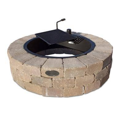 Grand 48 in. W x 12 in. H Round Concrete Beechwood Fire Pit Kit with Cooking Grate