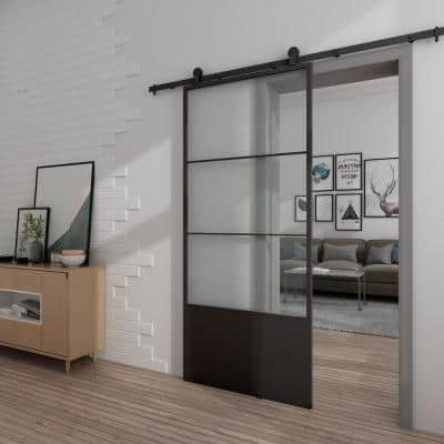 37in.x84in.x3 in. Concorde Epoxy Coated Steel Frame w/ Clear Tempered Glass Barn Door Interior Sliding Door Hardware Kit