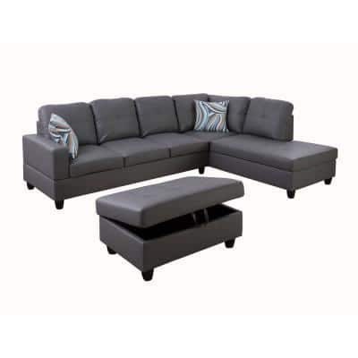 Cloud Gray Right Facing Faux Leather Sectional Sofa Set