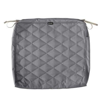 Montlake FadeSafe 21 in. W x 19 in. D x 3 in. T Grey Quilted Dining Cushion Slipcover