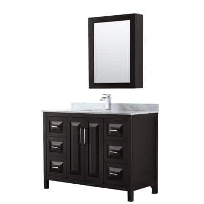 Daria 48 in. Single Bathroom Vanity in Dark Espresso with Marble Vanity Top in Carrara White and Medicine Cabinet