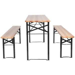 3-Pieces Rectangular Metal and Wooden Picnic Table Set