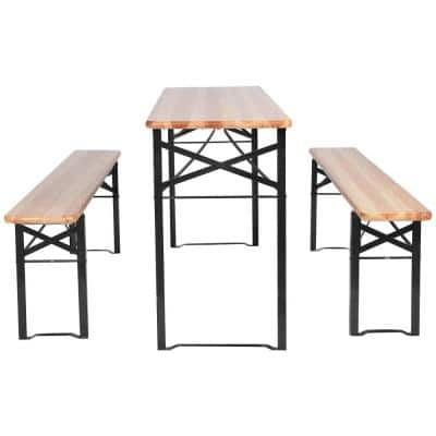 3-Pieces Rectangular Metal and Wooden Picnic Table Set