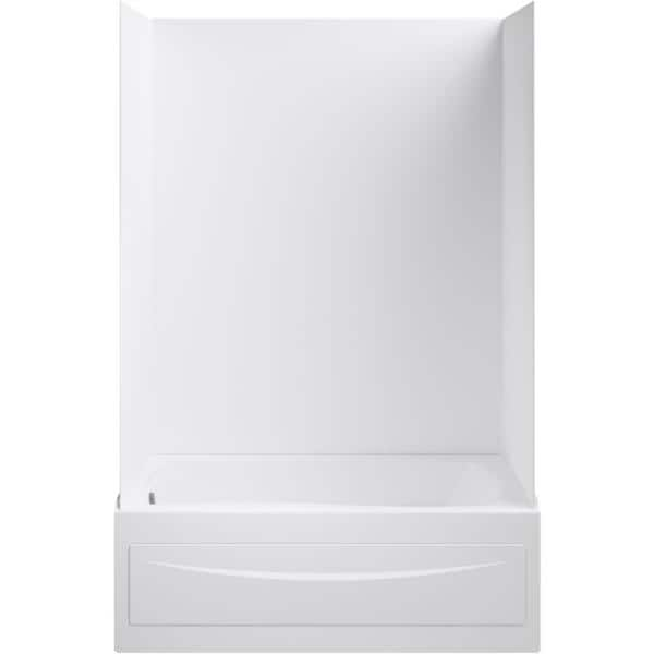 Kohler Mariposa 5 Ft Acrylic Left Hand Drain With Integral Farmhouse Rectangular Alcove Bathtub In White K 1242 La 0 The Home Depot