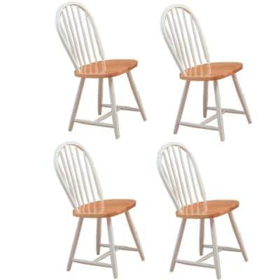 Hesperia Windsor Natural Brown and White Dining Side Chairs (Set of 4)