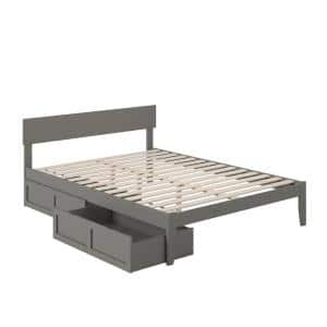 Boston in Grey Queen Bed with 2-Extra Long Drawers