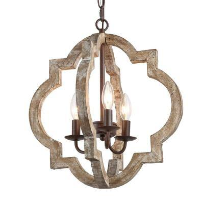 Socorro Dove 3-Light Distressed Cedar Hall-Foyer Pendant, Wood Dining Room Light Fixture, Bronze Farmhouse Chandelier