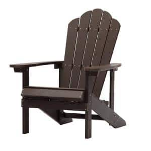 Coffee Outdoor Patio Reclining Slat Polyethylene Plastic Adirondack Chair