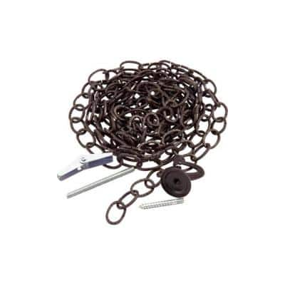 10 ft. Hammered Oval Black Decorative Chain with Toggle Bolt and Decorative Ceiling Hook