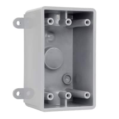 1/2 in. Gray 1-Gang 3-Holes Non-Metallic Weatherproof Box