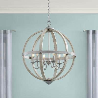 Keowee 24 in. 6-Light Galvanized Farmhouse Orb Chandelier with Antique White Wood Accents