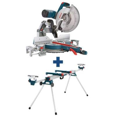15 Amp 12 in. Corded Dual-Bevel Sliding Glide Miter Saw with 60 Tooth Saw Blade and Bonus 32-1/2 in. Portable Stand