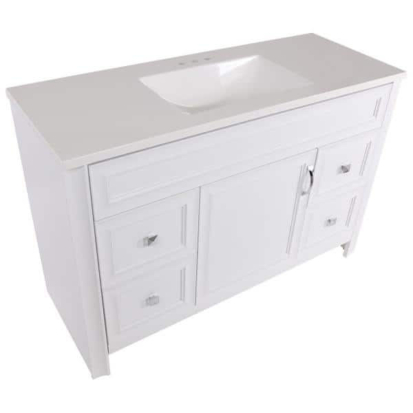 Glacier Bay Candlesby 48 In W X 19 In D Bath Vanity In White With Cultured Marble Vanity Top In White With White Sink Cd48p2 Wh The Home Depot