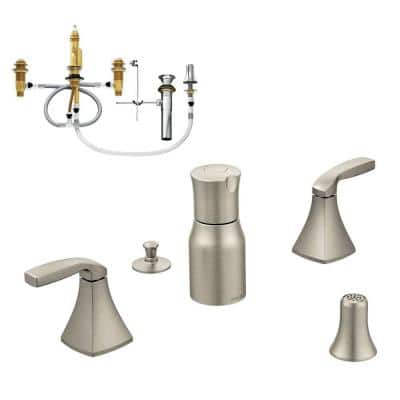Voss 2-Handle Bidet Faucet in Brushed Nickel (Valve Included)