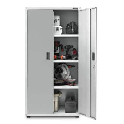 Ready-to-Assemble Steel Freestanding Garage Cabinet in White (36 in. W x 72 in. H x 24 in. D)