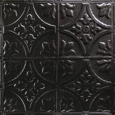 Pattern #2 in Textured Black Satin 2 ft. x 2 ft. Nail Up Tin Ceiling Tile (20 sq. ft./Case)