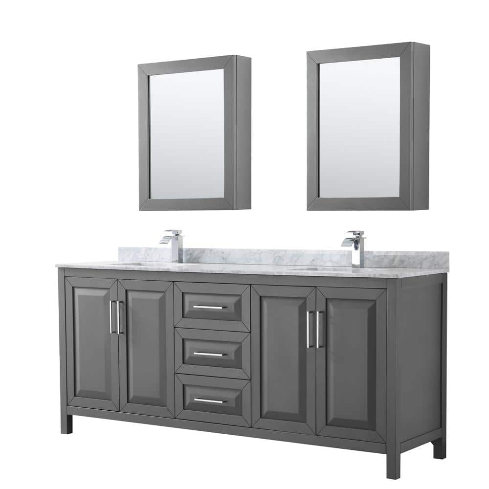 Wyndham Collection Daria 80 In Double Bathroom Vanity In Dark Gray With Marble Vanity Top In Carrara White And Medicine Cabinets Wcv252580dkgcmunsmed The Home Depot