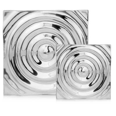 Dahlia Indoor Buffed Small Rippled Aluminum Tile Wall Decor