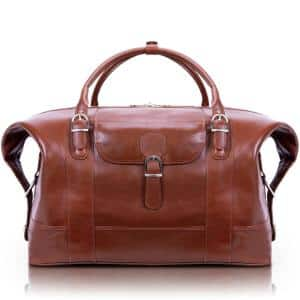 Siamod AMORE, 21 in. Cognac Oil Pull-Up Aniline Duffel Bag