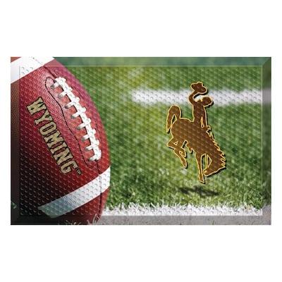 University of Wyoming Football Heavy Duty Rubber Outdoor Scraprer Door Mat