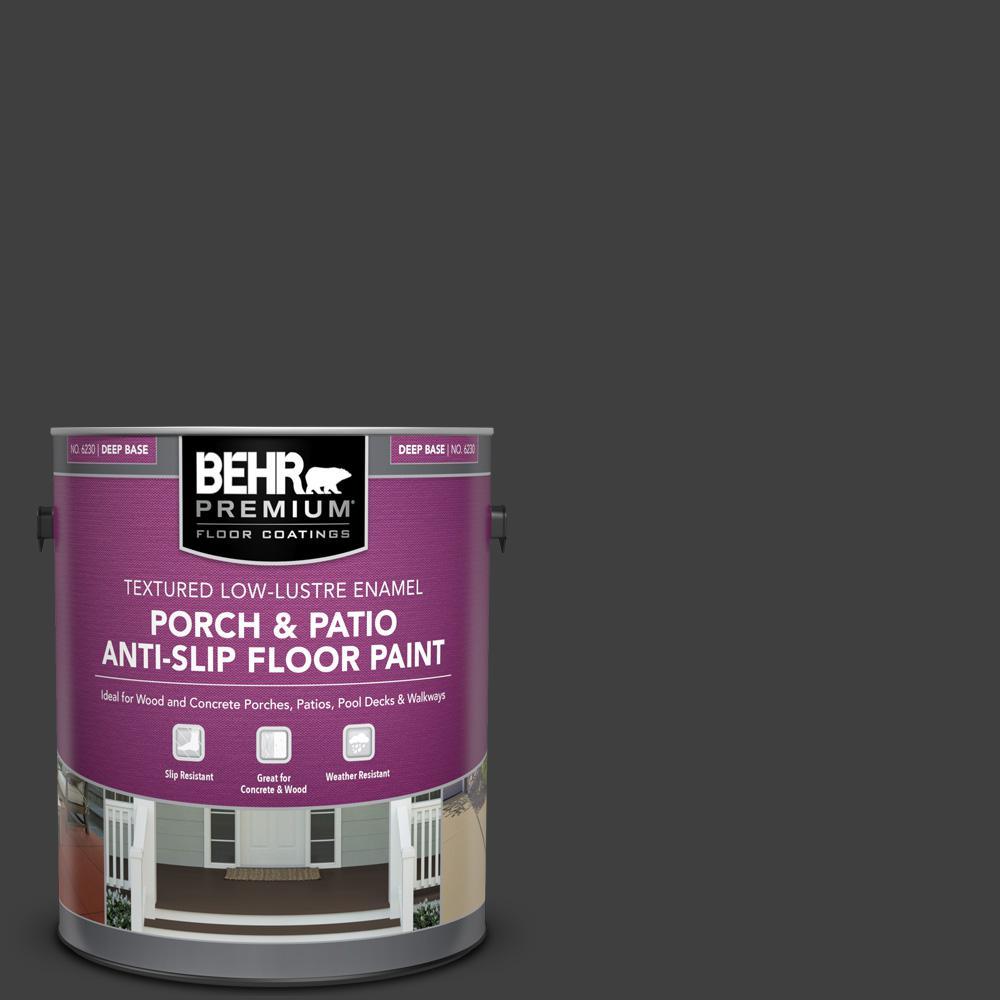 1 gal. #ECC-10-2 Jet Black Textured Low-Lustre Enamel Interior/Exterior Porch and Patio Anti-Slip Floor Paint