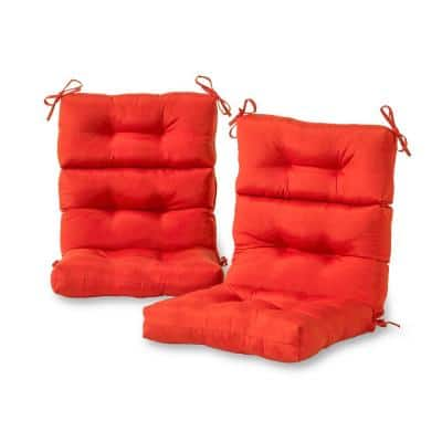Solid Salsa Outdoor High Back Dining Chair Cushion (2-Pack)