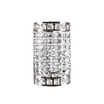 7 in. x 10 in. 1-Light Faux-Crystal & Chrome Pendant Cylinder Lamp Shade