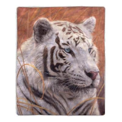 Multicolored Tiger Print Sherpa Fleece Blanket