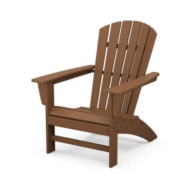 Grant Park Traditional Curveback Teak Plastic Outdoor Patio Adirondack Chair
