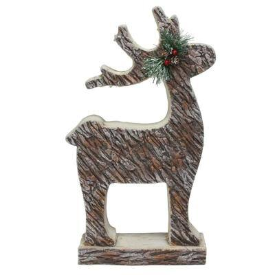 19 in. Lighted Faux Tree Bark Deer Christmas Figure