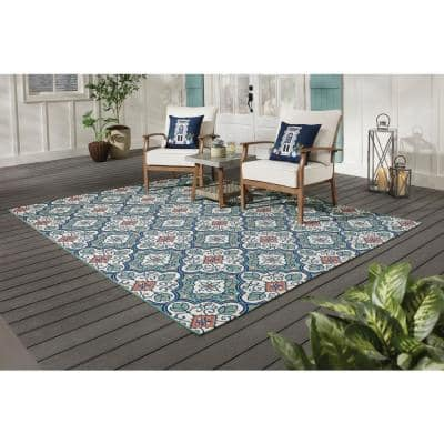 Star Moroccan Teal/Coral 9 ft. x 12 ft. Floral Indoor/Outdoor Area Rug