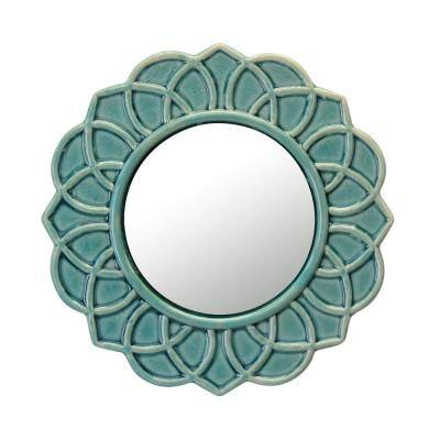 9 in. x 9 in. Decorative Round Turquoise Floral Ceramic Wall Hanging Mirror