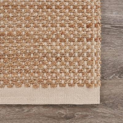 Earthly Beige/Off-White 9 ft. x 12 ft. Woven Natural Jute Area Rug