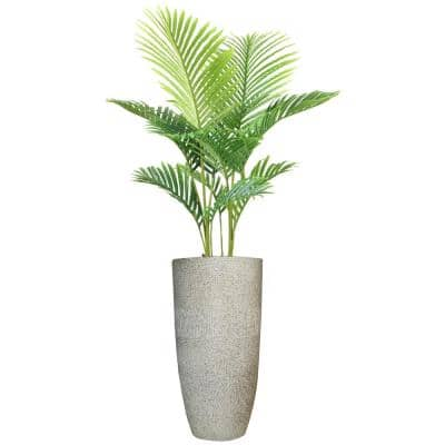 Artificial Faux Real Touch 4.84 ft. Tall Palm Tree with Fiberstone Planter