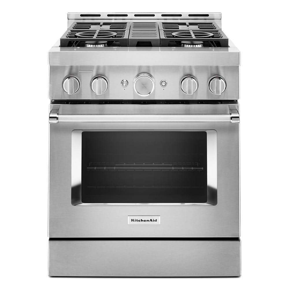 Kitchenaid 30 In 4 1 Cu Ft Smart Commercial Style Gas Range With Self Cleaning And True Convection In Stainless Steel Kfgc500jss The Home Depot
