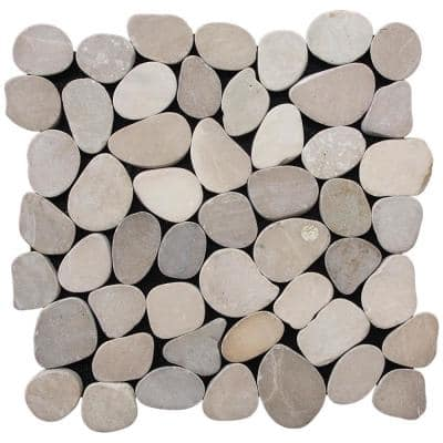 Sliced Pebble Tile Tan 11-1/2 in. x 11-1/2 in. x 9.5 mm Mesh-Mounted Mosaic Tile (10.12 sq. ft. / case)