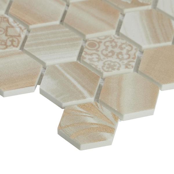 Geometric wall art set of 12 hexagonal tiles