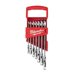 144-Position Flex-Head Ratcheting Combination Wrench Set SAE (7-Piece)