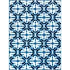Faded Trellis Blue 8 ft. x 10 ft. Watercolor Indoor/Outdoor Area Rug
